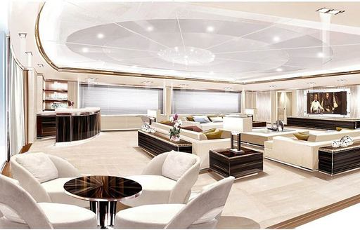 A sketch which shows the white furnishings and large television present in the skylounge of superyacht O'PTASIA