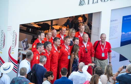 Red Arrows pilots at Pendennis stand at Monaco Yacht Show 2018