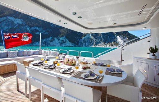 Alfresco dining area onboard MY Alalya