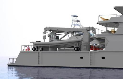 A graphic rendering of the aft section of superyacht The Beast