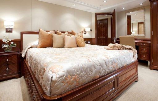 One of the guest cabins featured on board superyacht KATYA