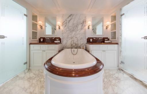 marble en-suite bathroom on board classic yacht Haida 1929