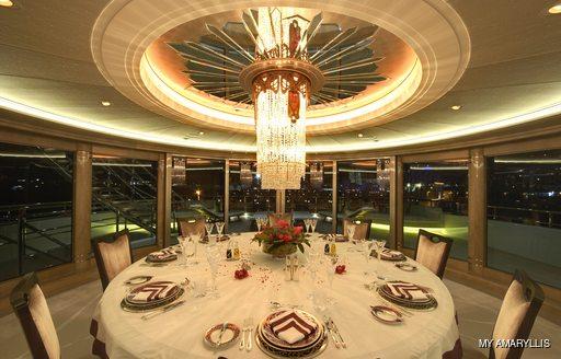 Formal dining onboard MY Amaryllis