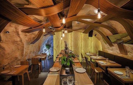 Inside restaurant Da Passano in Corsica