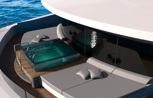 Jacuzzi on foredeck of luxury yacht Solo