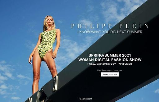 Advert for Philipp Plein show with model in front of blue sky