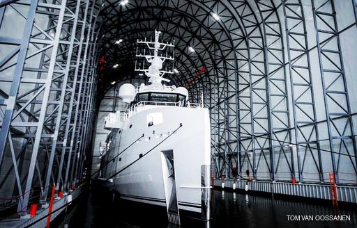 Game Changer yacht entering refit shed