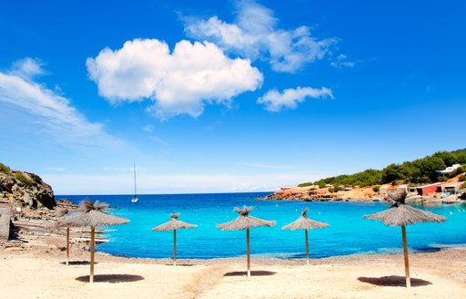 golden sand beach of Ibiza with turquoise waters