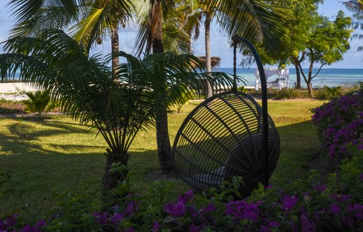 relaxation area on thanda island, with egg-shaped hanging swing, palm trees and lush green grass