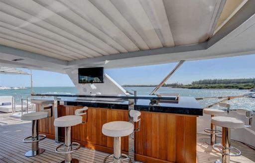 The sundeck bar belonging to superyacht DREW