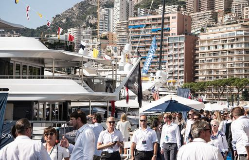 busy boardwalks at the Monaco Yacht Show 2017