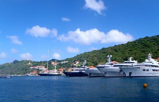 Five superyachts sat at-anchor in St Martin