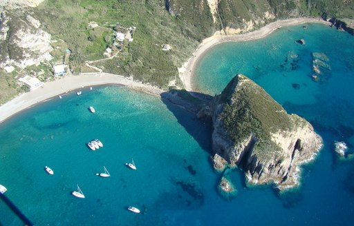 aerial view of coast of Isola di Ponza in Pontine Islands, Italy