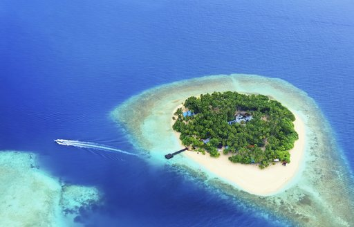 View from above of tiny Maldives atoll, centre of island covered by trees and fringed by beach