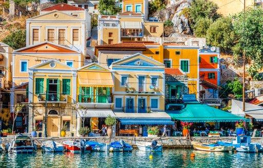 Symi Island, Greece - October 07, 2018 : Symi Island harbour view in Greece.