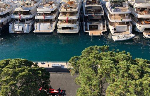 A formula 1 car racing along the Monaco Grand Prix track