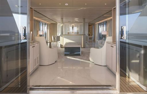 Private sitting area on superyacht EIV