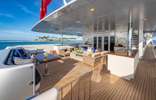 Seating area on the aft deck of Turquoise
