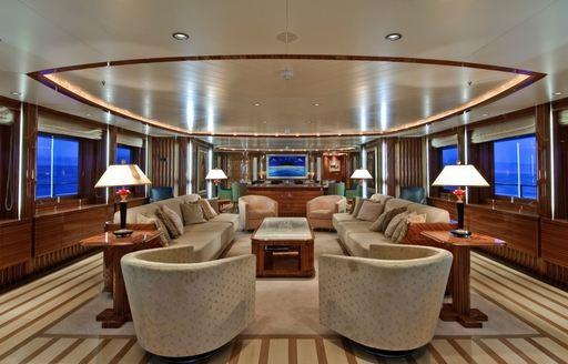 elegantly styled main salon aboard motor yacht O'NEIRO