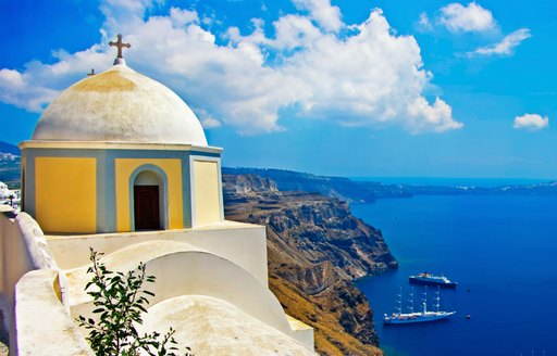 Greek dome and sea view