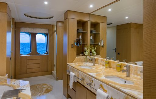 Elegant marble effect ensuite on Superyacht BACA
