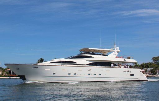 luxury yacht Lady Pamela cruising on a Sydney yacht charter