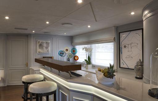 Lightly furnished bar area on Superyacht CHAKRA