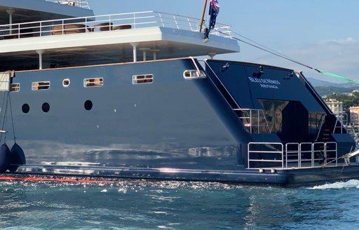 Stern of superyacht 'Bleu De Nimes'