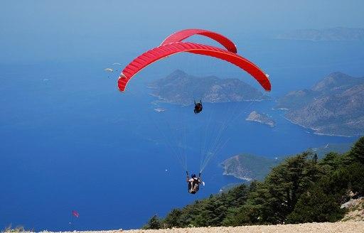 paraglider takes off over Oludeniz in Turkey