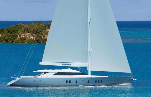 luxury yacht All About You underway on a Mediterranean yacht charter
