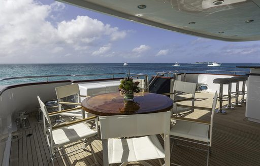 Covered dining areas on superyacht M3