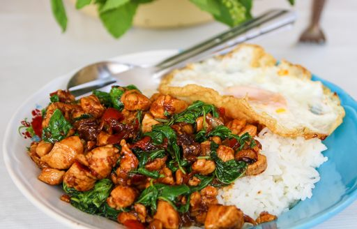 Phat Kaphrao, a stir fried Thai dish with meat and basil,