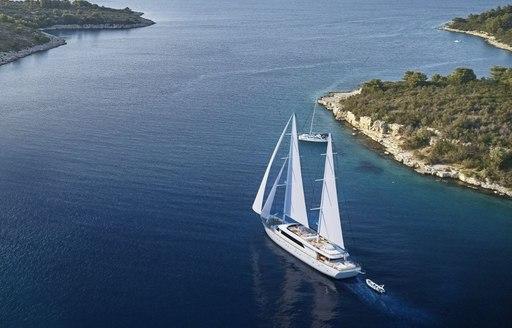 Sailing yacht Love Story cruising by coast
