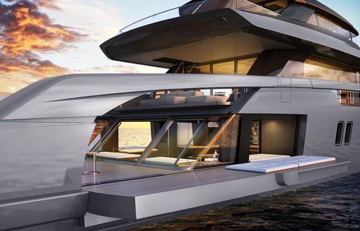 Covered deck space on Sanlorenzo superyacht ALMAX