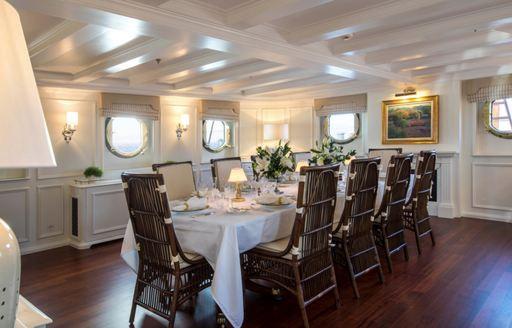 dining salon with portholes aboard luxury yacht Haida 1929