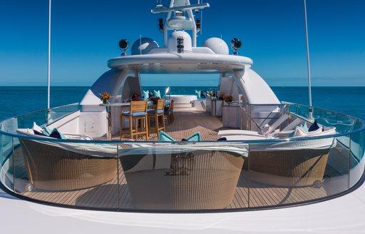 View across sundeck of Superyacht BACA