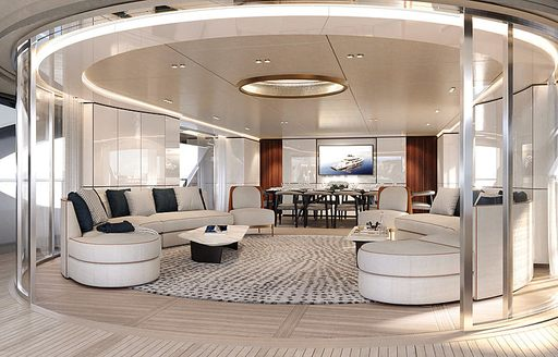 Refined interiors and circular sofas on Benetti superyacht REBECA