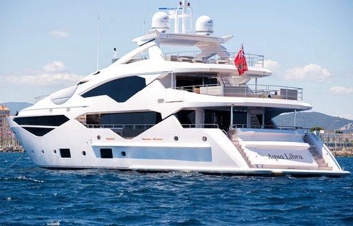superyacht Aqua Libra anchored on a Mediterranean yacht charter