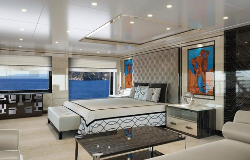 rendering of the master suite aboard superyacht LILI