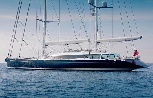 sailing yacht Q anchors during a private yacht charter
