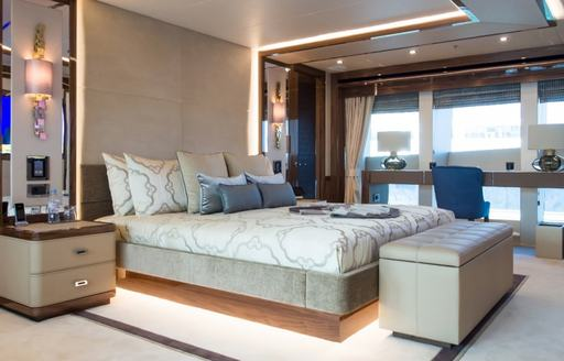 tranquil styling of the master suite aboard motor yacht 'Princess AVK'