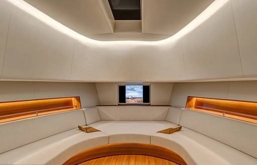 Interior cabin on the Alen 55 chase tender to MY Panthalassa