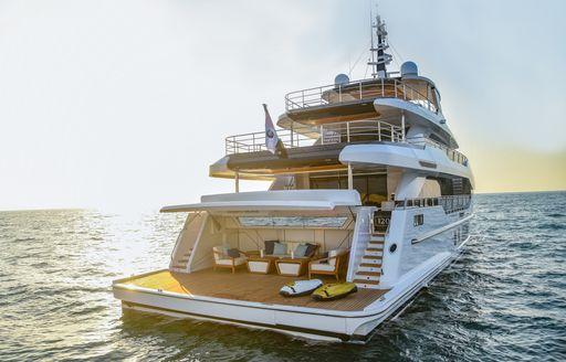 View of beach club on Majesty 120 superyacht