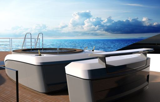 spa pool on upper deck aft of charter yacht Solo