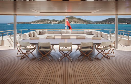 shaded alfresco dining area on the upper deck aft aboard motor yacht GRACE
