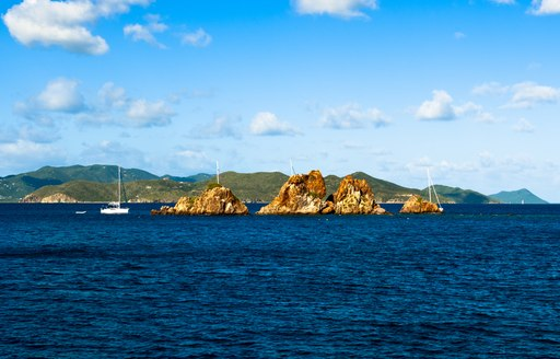 The Indians, a rock formation, off the coast of Norman island in the British Virgin Islands