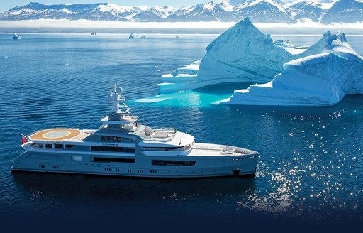 Expedition yacht CLOUDBREAK surrounded by icebergs