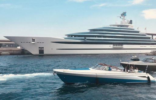 Two tenders photographed in front of luxury yacht JUBILEE at the Monaco Yacht Show 2017