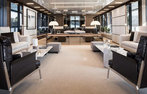 exquisite styling in the main salon of motor yacht Seven Sins