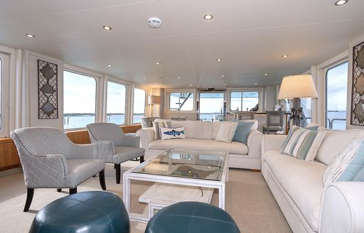 Open and airy salon on superyacht ZEAL